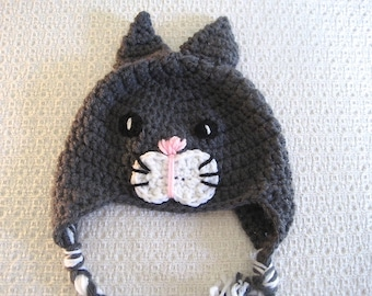 Baby Animal Hat, Kitty Cat Hat, Gray Earflap Hat