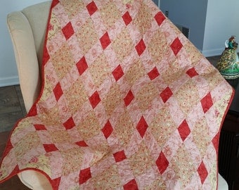 Diamond Crib Quilt  36 x 46 inches.  Ready to Ship