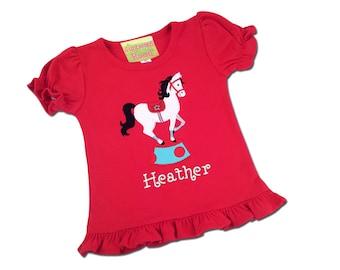 Girl's Circus Shirt with Circus Pony and Embroidered Name