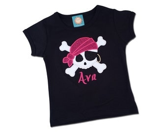 Girl's Pirate Shirt with Glittery Pirate Skull and Embroidered Name