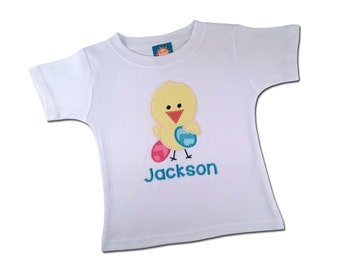 Boy's Easter Shirt Chick, Eggs and Embroidered Name