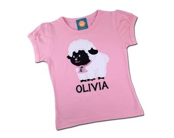 Girl's Easter Shirt with Cutie Lamb and Embroidered Name