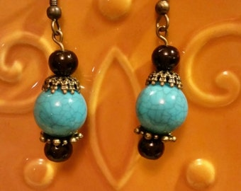 Turquoise and Brown Bead Earrings, Turquoise Earrings