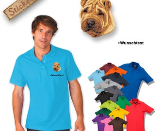 Polo shirt cotton embroidered embroidery dog CHINESE SHAR-PEI + own words