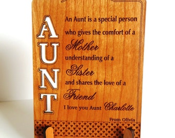 Keepsake Gift for Aunt-Personalized Gift for Auntie from Niece Gifts for Aunts-Aunt Birthday-Christmas- Mothers Day Aunt Gift Ideas, PLA010