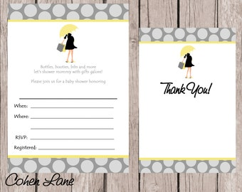Instant Download Fill In Baby Shower Invitation. Fill in Invitations and Thank you card.  Modern Umbrella Mama Invitation.