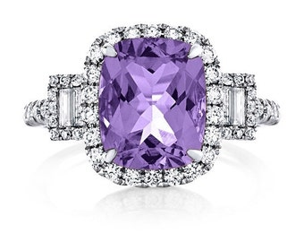 Amethyst Birthstone Ring 2.81ct Purple Amethyst Ring .70ct Natural Diamonds Halo 3 stone Anniversary Ring White Gold Pristine Custom Rings