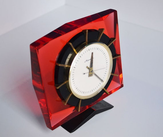 Vintage Clock For Home Decor Red Bedside Clock By