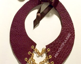 Plum Leather Bib Necklace with Gold Chains
