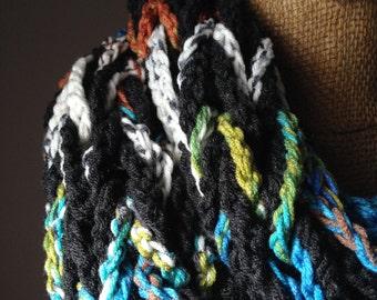 Dark Charcoal Gray / Peruvian Print Crocheted Arm Knit Infinity Scarf