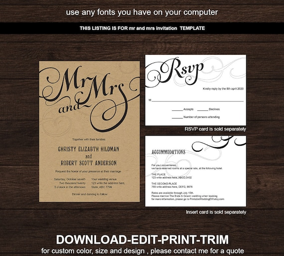 Rustic Wedding Invitation Fonts: DIY Wedding Invitation Template