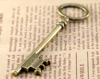 5 pcs 23x80mm Antique Bronze key Charm, Antique keys Pendant ABk04