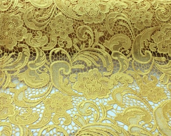 Yellow guipure flowers embroider lace. Sold by the yard.36x45inches.