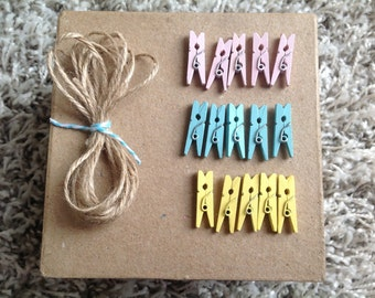 mini wooden pegs, mini pegs and twine, coloured pegs, pegs for baby shower, coloured mini pegs,