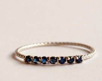 Half eternity ring Sapphire ring - blue stone ring