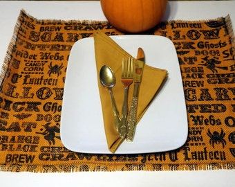 Halloween Table Accents, Holiday Burlap Placemat, Holiday Table Linen, Halloween Burlap Decoration, Holiday Table Decor, Holiday Kitchenware