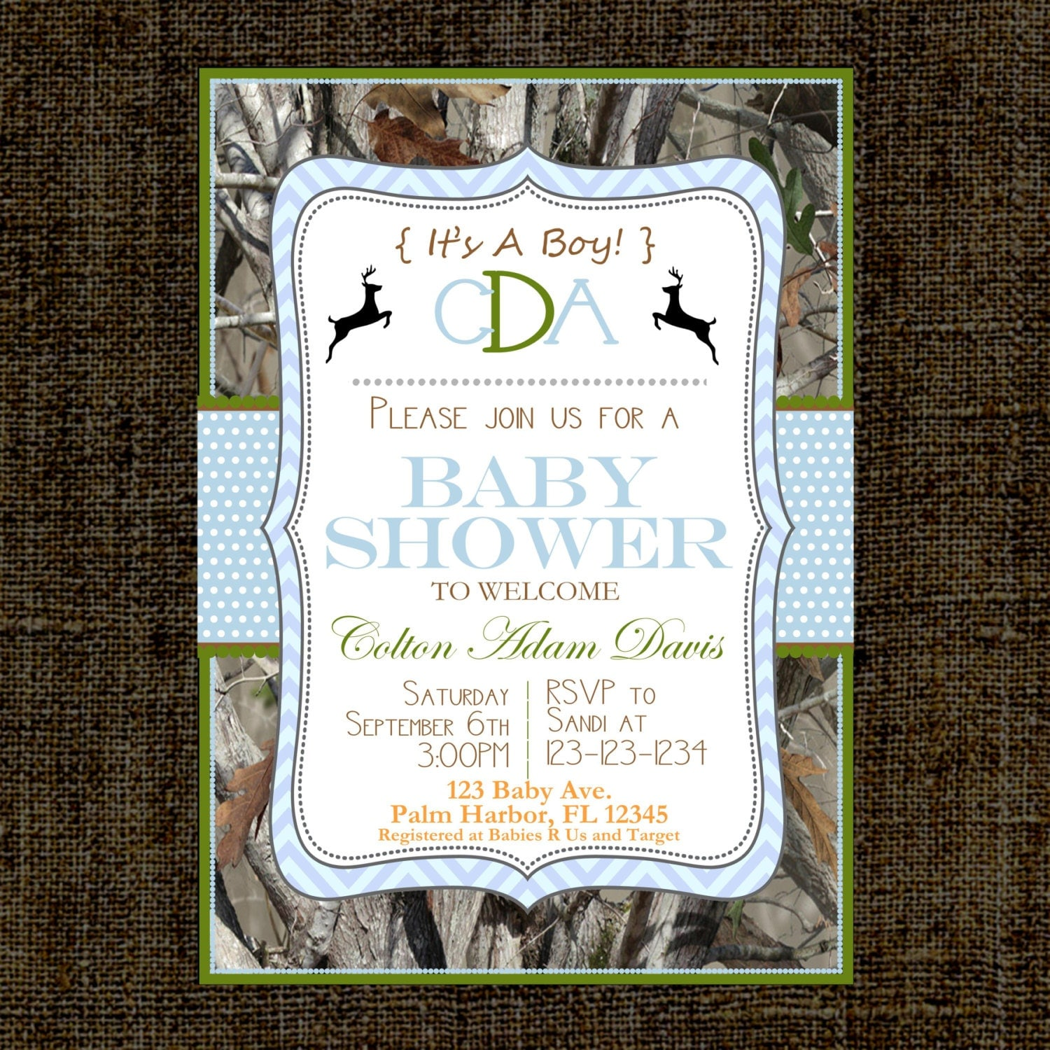 camo baby shower invitation camo it 39 s a boy invitation