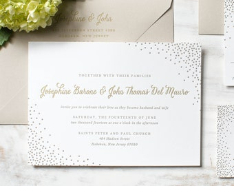 The Josephine Suite | Metallic Gold Foil + Letterpress Wedding Invitation SAMPLE