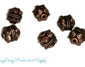 8 Antiqued Copper Chunky Spacer Beads - Sku#621