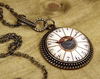 Steampunk Necklace, Clock Necklace, Victorian Style Necklace, Bronze Necklace, Imitation Clock Necklace, Eye Necklace, Steampunk Jewelry
