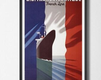 Vintage Travel Poster Transatlantic French Line