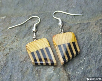 Handmade heraldic striped wood earrings, 3 colours, 2 finishes.