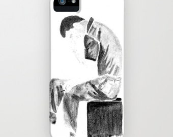 Portrait of Ian Curtis from Joy Division in black and white watercolor or ink .Phone case iPhone 6 6s plus 5 5s 5c 4 4s