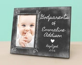 Baptism Christening Gift  for Godparents - Rustic Custom Chalkboard Picture Frame - Godfather or Godmother gift - Photo Frame -PF1096
