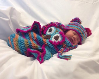 Owl Cocoon with matching hat, Newborn Photography Prop, Photo Prop