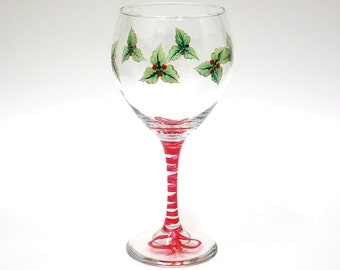 Hand Painted Wine Glass Christmas Mistletoe Red Berries Hand Painted Glassware Stemware Custom Hand Painted Wine Glasses Painted Glass
