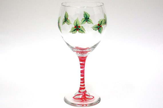 Hand painted wine glass christmas mistletoe red berries hand for Christmas glass painting