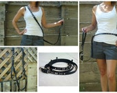 Matching Multi-Lead, European Leash, Multifunctional Leather Leash,Police Lead,Versatile Leather Leash,All In One Leash,Slip Collar and Lead