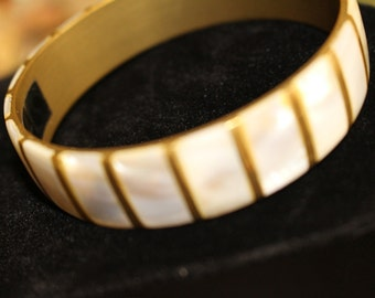 Beautiful Mother of Pearl and Brass Bangle Bracelet
