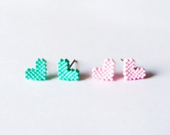 Little Pixel Hearts Earring - Pink earrings - Fashion earrings - Heart earrings - Pastel earrings - Post earrings - Stud earrings