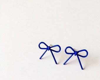 Blue Wire Bow Earrings - Blue earrings - Fashion earrings - Blue Bow - Post earrings - Stud earrings - Bow earrings - Wire Bow