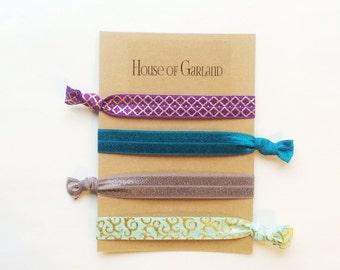Enchanted set of 4 FOE hair ties - No Crease hair ties - Girls hair ties - FOE hair ties - Hair accessories - Ponytail - Hair Elastics