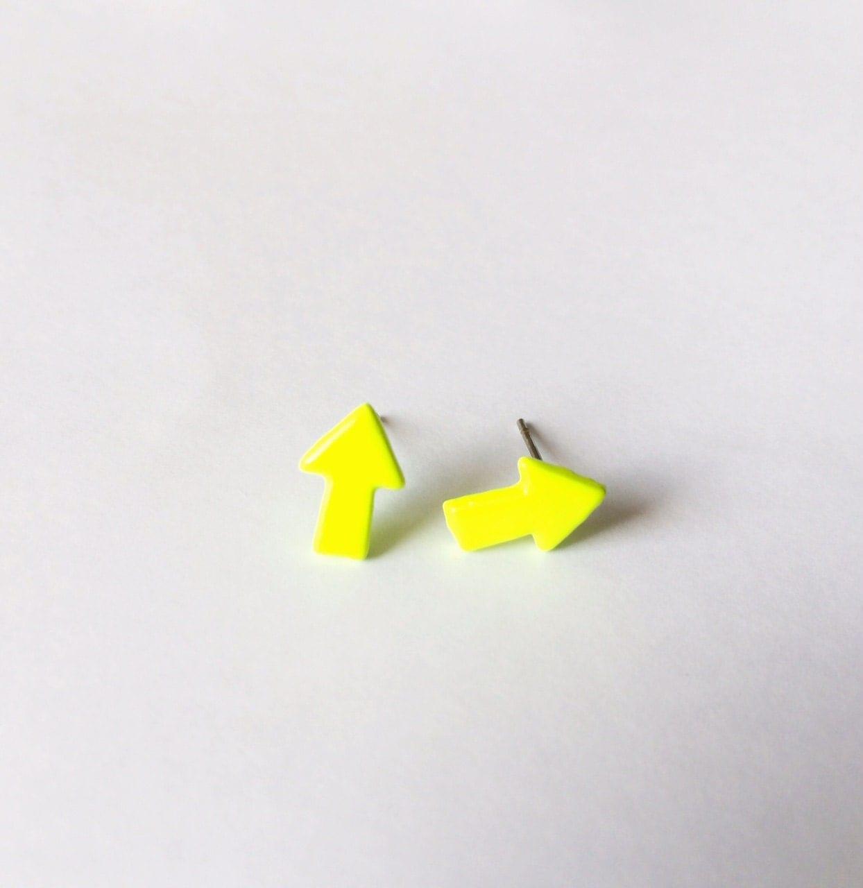 neon yellow arrow earrings neon earrings fashion earrings