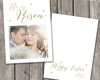 Christian Easter Card Template - He Is Risen Easter Card for Photographers - Easter Template - EC01