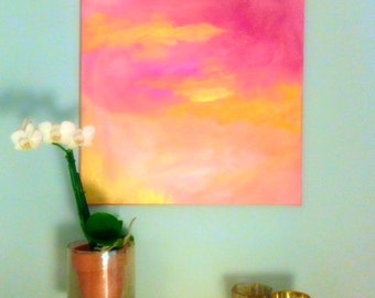 Rose Gold Haze - Abstract Acrylic Painting Pink and Gold Painting Original Art Painting on Canvas Modern