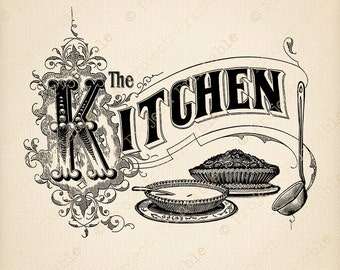 Kitchen Sign - Instant Download Printable Image - Food Cooking clipart - Vintage Digital Graphics - Iron On Fabric Transfer Clip Art Burlap