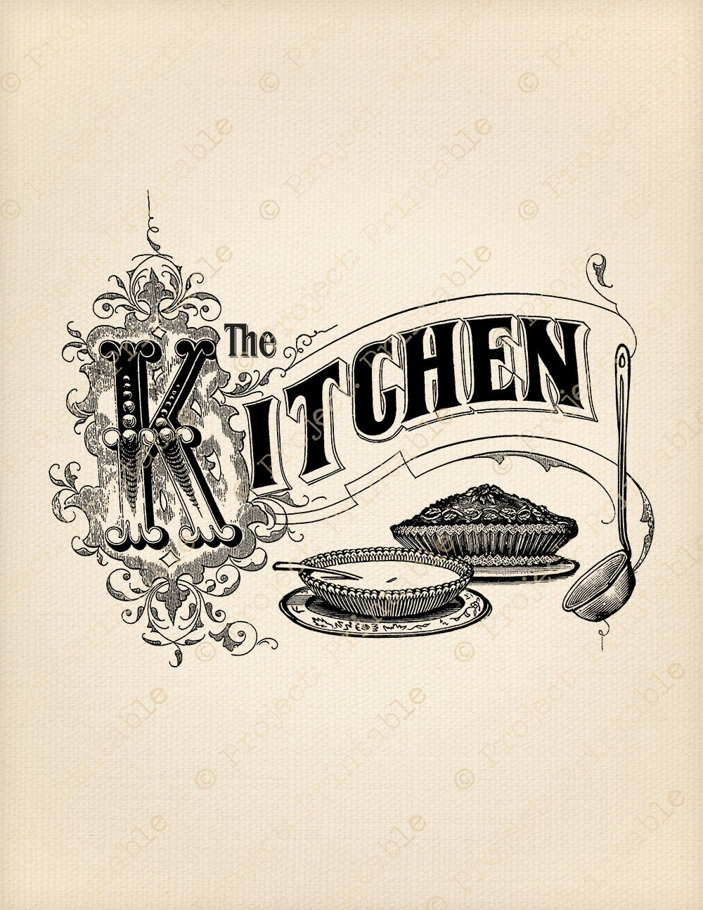 Kitchen Sign Instant Download Printable Image Food Cooking  Retro Clip Art Food