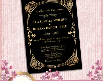 Great Gatsby Style Art Deco Wedding Invitation -  1920's, 20's Style  - Black and Gold - Printable DIY