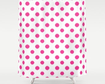 Fuchsia Shower Curtain, Girls Bathroom Decor, Pink Shower Curtain, Polka Dots, Ikat Shower Curtain, Pink Decor, Girls Shower Curtain, Dorm