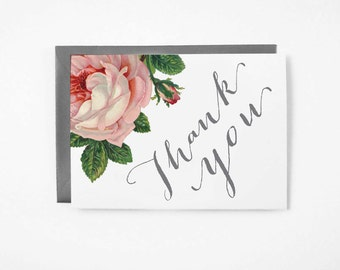 Printable Thank You Card - Instant Download - 4x6 - 5x7 - DIY - Vintage Rose - Thank You  - Stationary