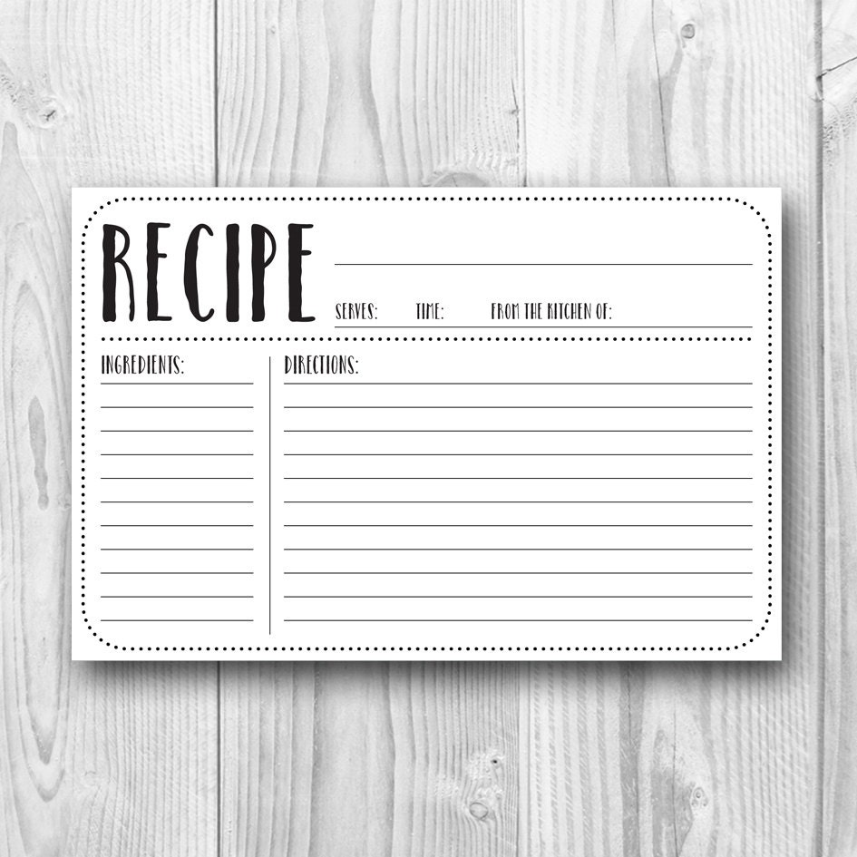 printable recipe card 4x6 recipe card plain kitchen decor kitchen printables bridal. Black Bedroom Furniture Sets. Home Design Ideas