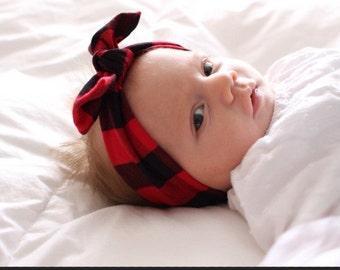 Buffalo Plaid Bow Headband, headband, knotted band, turban, bow, mommy and me, plaid, buffalo plaid, lumberjack