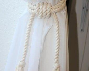 4 Nautical rope curtain tie backs - Shabby cottage beach house curtain ties - nautical nursery - tassel tie backs