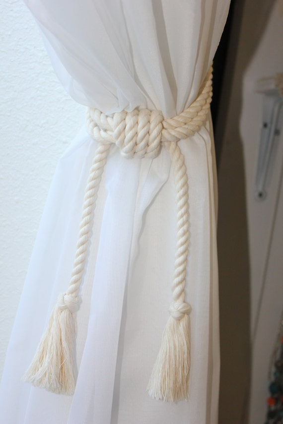 Nursery curtains tie back : Rope curtain tie backs