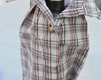 Men's Shirt Sleeve Wine Bag- Rust/Grey/Tan Plaid