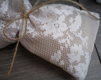 "50pc Lace favor bags (6,3""x4,3"") -wedding favor bag-lace and fine gauze favor bag"